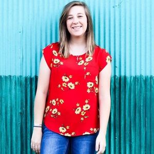 Red flowered blouse